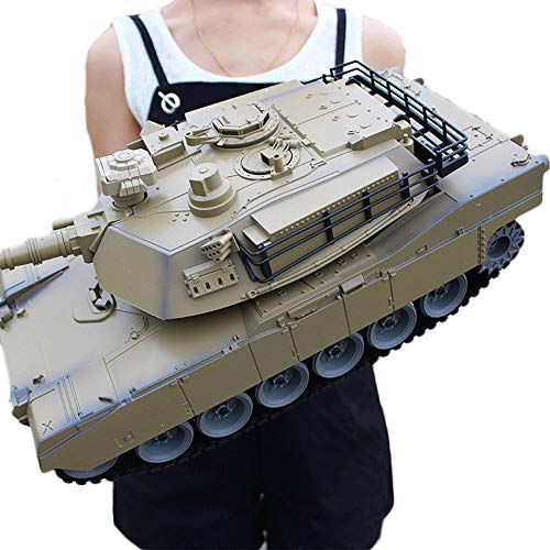 wangch RC Tanque Simulados Ejército de Ejército M1A2 Ground Tanque de Batalla Crawnler Off-Road Vehículo de Escalada Simulando Sound and Light Electric Metal Tiger Tank Modelo Boy Toy Regalo