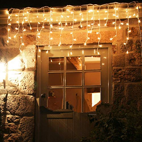 Cortina de luz LED Lluvia de hielo Cadena de luces Cortina de luz Carámbano Decoración de interiores al aire libre para fiestas de jardín Boda Decoraciones de Navidad eléctricas (5 metros 216 luces)
