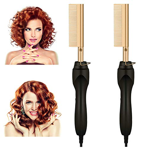 Hot Comb,Electric Heating Comb,Ceramic Comb Security Portable Curling Iron Heated Brush,Beard/Hair Straightener,Copper Hair Straightener Brush Straightening Comb for Men Women Travel and Home Use