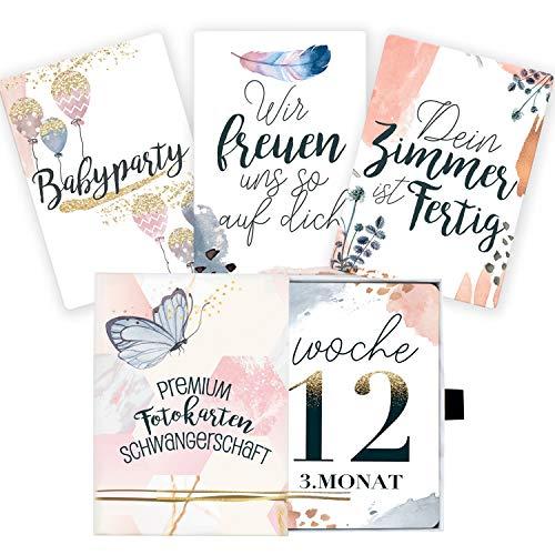 45 Meilensteinkarten für die Schwangerschaft mit hochwertiger Geschenkbox I Persönliches Geschenk-Set für Schwangere I Schwangerschaftstagebuch