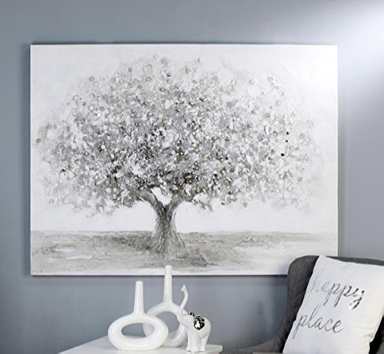 CasaWeißa - Bild Big Tree Leinwand wei grau silberfarben mit Acrylstruktur