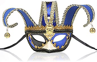 Zingcord Venetian Clown Mask Painted Halloween Party Masks High-End Venetian Jester Joker Mask Spider Masquerade Wall Decorative Art Collection Mardi Gras Party Decoration Gift, Blue