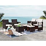 VICTONE Patio Porch Furniture Sets 7 Pieces, PE Rattan Wicker Sectional Chairs Sets, Outdoor Garden Furniture Sets with Cushions and Glass Table (Beige)