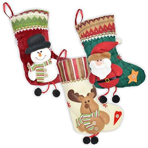 NAILFUN 3er Set Weihnachtssocke - Nikolausstiefel - Geschenkbeutel - Weihnachtsstrümpfe (Nikolaus + Schneemann + Rentier)