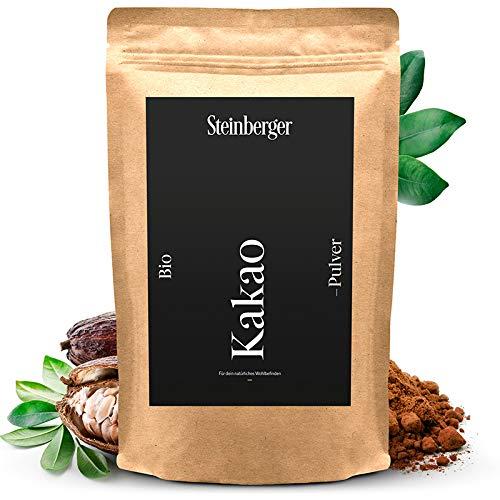 Premium BIO Kakaopulver von Steinberger | ungesüßtes stark entöltes Kakaopulver zum Verfeinern von Süßspeisen | 1000g im wiederverschließbaren Aromapack