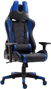 Sedia da Ufficio Gaming, Wahson Sedia Scrivania con Poggiatesta a Forma di u,Sedia Ergonomica, Bracciolo 4D, Poltrona Ufficio(Blu Nero)
