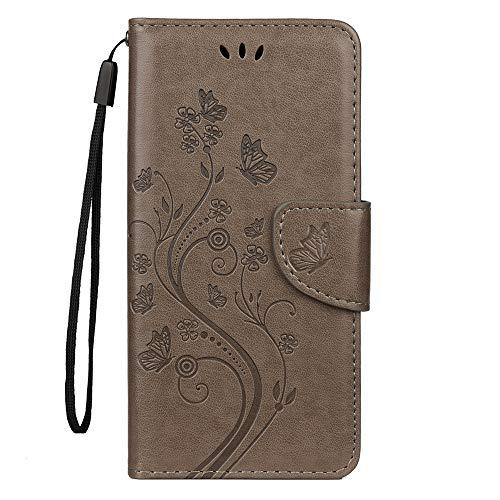 Sunrive Hülle Für BQ Aquaris X2/X2 Pro, Magnetisch Schaltfläche Ledertasche Schutzhülle Hülle Handyhülle Schalen Handy Tasche Lederhülle(Prägung grau s) MEHRWEG