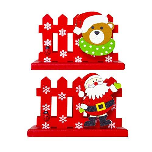 PRETYZOOM - Valla de Navidad con forma de dibujos animados para tarjetas de visita de madera, soporte para tarjetas de escritorio, organizador de almacenamiento para oficina (Santa + oso )