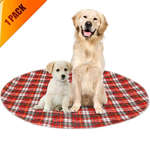 KOOLTAIL Washable Pee Pads for Dogs - Round Plaid Puppy Potty Pad for Dog Playpen, Reusable Whelping Training Pads Red