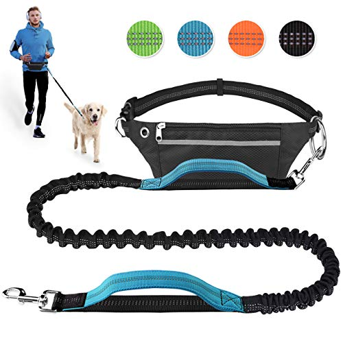 Hands Free Dog Leash for Running Walking Jogging Training Hiking Retractable Bungee Dog Running Waist Leash for Medium to Large Dogs Adjustable Waist Belt with Pack Reflective Stitches Dual Handle