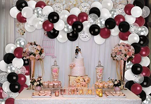 Silver Burgundy Black Balloon Garland Kit Crimson Red Balloons Chrome Silver Balloons Black and White Balloons Arch for Birthday Wedding Engagement Graduation Party Supplies Decorations