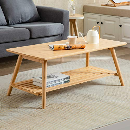Nnewvante Coffee Table Foldable Bamboo Cocktail Table TV Stand with Open Storage Shelf Center Table for Living Room Furniture RV No Assembly