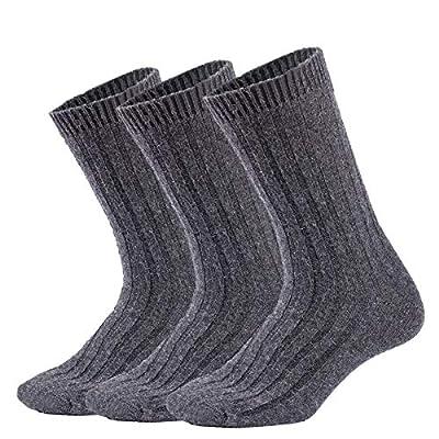 Mens Winter Warm Wool Crew Socks 3 Pairs Thick Knit Cozy Thermal Dress Boot Sock