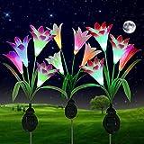 Solarlampen für Außen Garten, 3 Stück ZVO Solarleuchte LED 4 Kopf Lilie Blumen Leuchten - Solarlicht 7 Farbwechsel Wasserdichte Dekorationsdeko für Weihnachts,Weg,Rasen,Terrasse,Feld(Weiß,Pink,Lila)