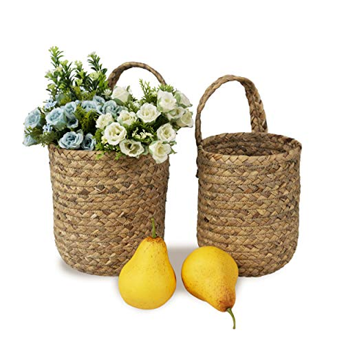 Juego de 2 cestas de pared tejidas a mano para almacenamiento y soporte para macetas, natural de mimbre para almacenamiento frutas y decoración de pared cesta para colgar maceteros para el hogar