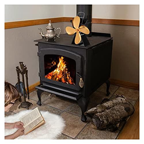 L1YAFYA Estufa de Calor Fan 4 Blades Gold Chimenea Ventilador Koministro Log Burner de Madera Eco Friendly Fan Distribución de Calor eficiente para el Invierno (Color : Gold)