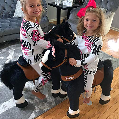 PonyCycle Official Classic U Series Ride on Horse Toy Plush Walking Animal Black Horse Medium Size for Age 4-8 U426