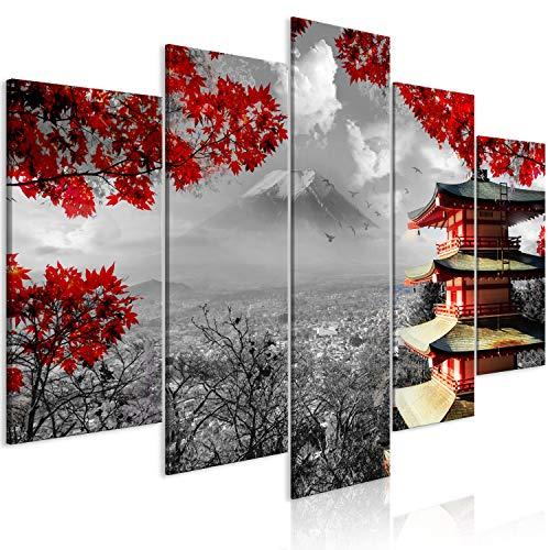 murando - Bilder Japan 200x100 cm Vlies Leinwandbild 5 TLG Kunstdruck modern Wandbilder XXL Wanddekoration Design Wand Bild - Landschaft schwarz weiß rot c-C-0241-b-m