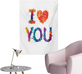 Anzhutwelve I Love You Wall Sticker Decals Watercolor Stylized Paintbrush Brushstroke Effect Valentines Vibrant DisplayMulticolor W24 xL32 Poster Paper