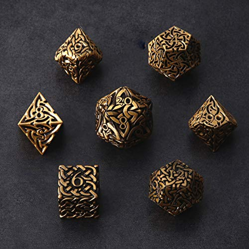 Antique Gold Endless Order Dice 7 Piece Polyhedral Metal Dice Set Celtic Knots Extra Heavy & Large for DND Dungeons and Dragons Call of Cthulhu Pathfinder Tabletop RPG Dice Wizard Monk Dice