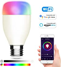 Smart WiFi LED Light Bulbs 6000K E27 Dimmable Colored Smartphone Controlled Daylight White Night Light Lamp, No Hub Required, Compatible with Amazon Alexa Echo, Google Home Assistant