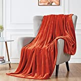 """Walensee Fleece Blanket Plush Throw Fuzzy Lightweight (Throw Size 50""""x60"""" Orange) Super Soft Microfiber Flannel Blankets for Couch, Bed, Sofa Ultra Luxurious Warm and Cozy for All Seasons"""