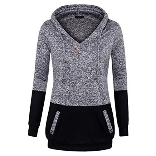 Damen Hoodie Langarm V-Ausschnitt Casual Sweatshirt Herbst Winter Lang Elegant Hooded...