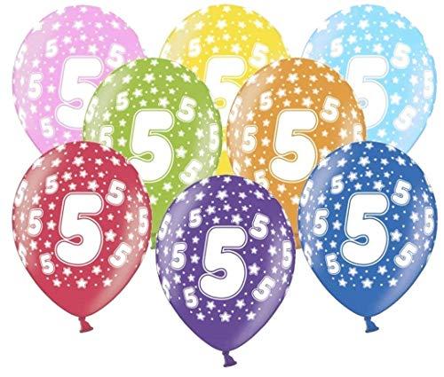 Libetui 10 kunterbunte Luftballons Metallic 30cm Deko zum 5. Geburtstag Jubiläum 5 Jahre Party Kindergeburtstag Happy Birthday Dekoration (Zahl 5)