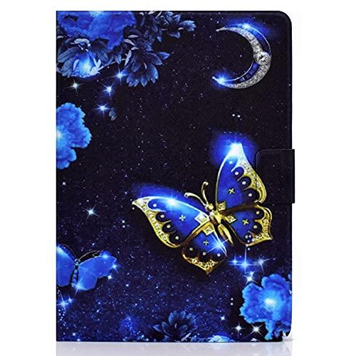 JIan Ying Funda para Samsung Galaxy Tab A 10.1 (2016) SM-T580 T585 Delgado Ligero Protector Cover Azul Mariposa