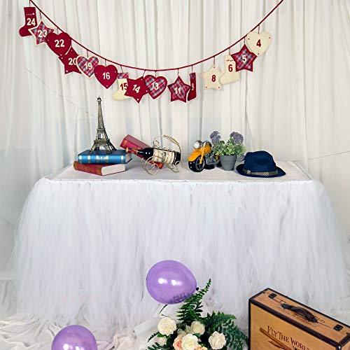 MYMM Jupe de Table, Gaze de Bureau en Tulle Romantique, décoration de Table, Nappe de Tutu Flocon de Neige au Pays des Merveilles, pour Baby Shower, Mariage, fête, Bar (Tutu-Blanc, 3FT)