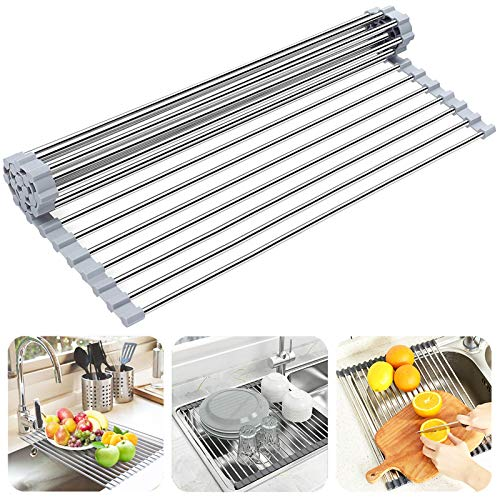 """Dish Drying Rack Roll Up Sink Drying Rack, Searik Over The Sink Dish Rack Multi-Use Stainless Steel Dish Drainers Heat Resistant Mat for Drying Draining Trivet (17.7""""x13.8"""")"""