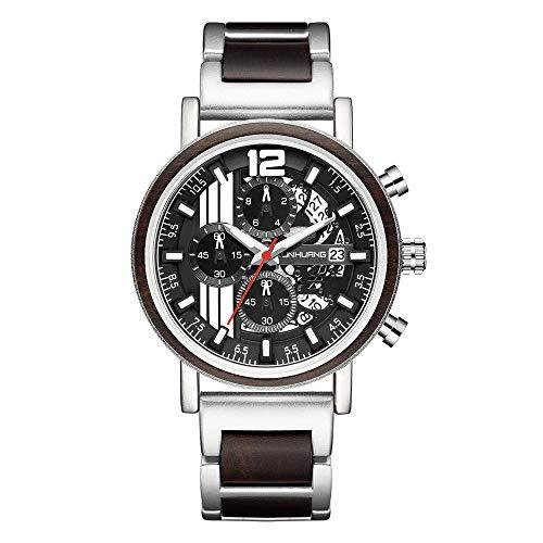 SANDA Relojes De Pulsera,2021 Reloj Deportivo para Hombre Vendedor Caliente Reloj de Cuarzo de Moda de Madera metálica-Plata