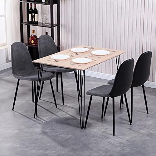 GOLDFAN Esstisch mit 4 Stuhl Essgrupp Rechteckiger Holz Küchentisch und 4 Samt Braun Stuhl Wohnzimmertisch für Esszimmer Küche