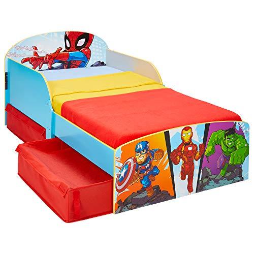 Worlds Apart Marvel Supereroe-Lettino per Bambini con Contenitore sottoletto, 142x77x59cm