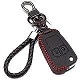 Hülle Autoschlüssel für Opel - Kunstleder Schutzhülle mit Schlüsselanhänger Schlüssel 2 Tasten für Chevrolet Aveo Cruze Trax für Opel Corsa Mokka Schutz Etui für Fernbedienung(red Edition)