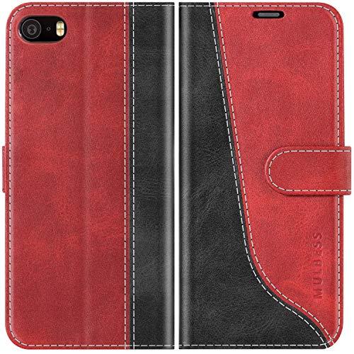 Mulbess Funda para iPhone 5S, Funda iPhone SE 2016, Funda iPhone 5, Funda con Tapa iPhone 5s, Funda iPhone 5S Libro, Funda Cartera para iPhone 5S Carcasa, Vino Rojo