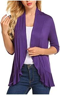Howely Womens Casual 3/4 Sleeve Solid Colored Knit Cardigan Sweater