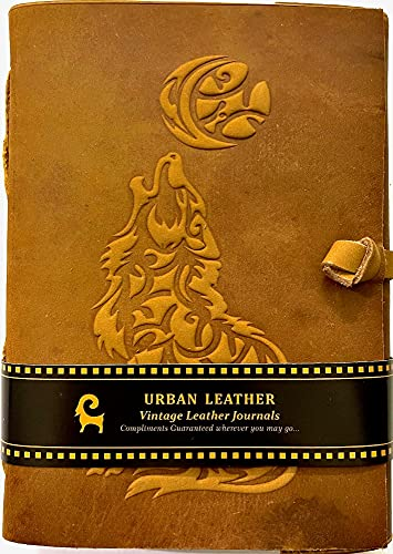Urban Leather Howling Wolf Celtic Moon Vintgae Leather Journal - Drawing Sketchbook Scrapbook, Unlined
