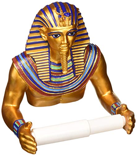 Design Toscano JQ9686 Holder - King Tutankhamen Egyptian Toilet Paper Roll - Bathroom Wall Decor, Multicolor