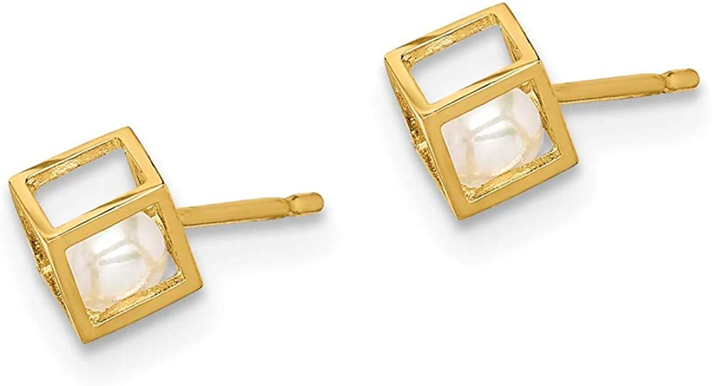 14k Yellow Gold White Freshwater Cultured Pearl Square Post Stud Earrings Ball Button Fine Jewelry For Women Gifts For Her