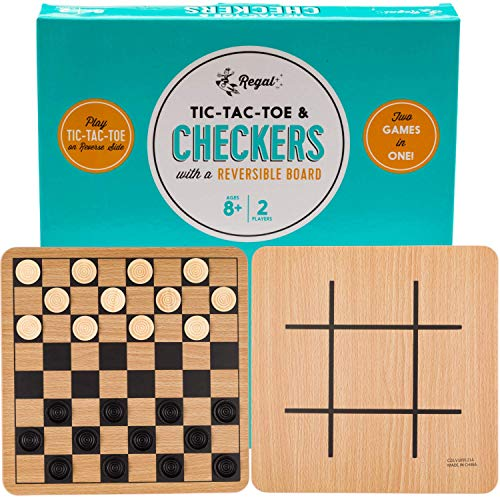 Regal Games Reversible Wooden Checkers / Tic-Tac-Toe Board Game with 24 Interlocking Wooden...