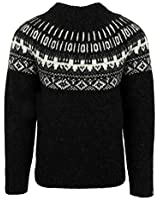 ICEWEAR Elis Sweater Lopapeysa Design 100% Icelandic Wool Long Sleeve Winters Sweater Without Zipper | Black - XL