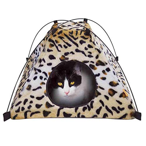 犬 RTT Cat Tent Cave Bed Cat House Bed Pet Tent Portable Playpens 2-in-1 Self Warming Comfortable Triangle Cat Bed Folding Pet Tent Small Animal House Cage 1023