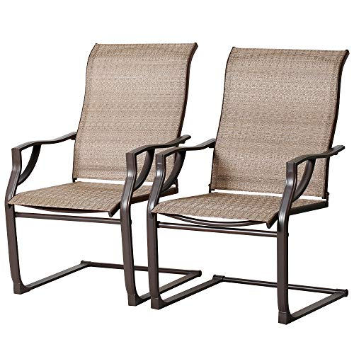 BALI OUTDOORSSpringPatio Motion ChairsSet of 2, Outdoor Brown Wicker Dining Chairs forBalcony, Garden and Lawn
