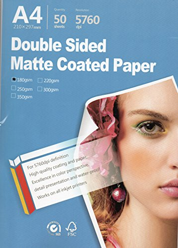 "Best Double sided matte Inkjet Printing Photo Paper 8.3""x11.7"" A4 Size 50 sheets weight 180gsm for All Inkjet Printers"