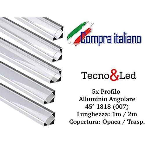 Profilo in alluminio per strip LED angolare 1MT/2MT copertura a scelta (5x 2MT Angolare 007 copertura opaca)
