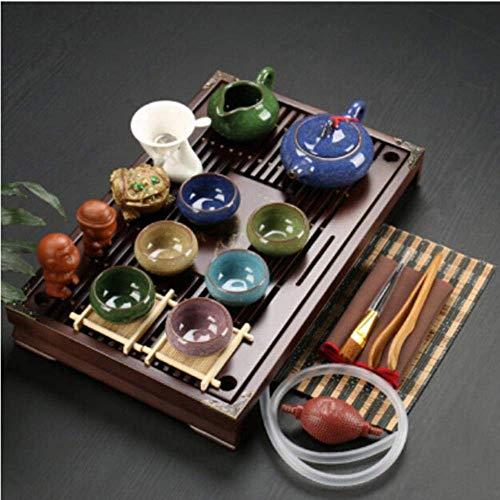 Nfudishpu Juego té Arcilla púrpura cerámica Kung Fu Pot Infusor Bandeja té Madera Maciza Tetera Tazas té Vajilla China Gaiwan, s7