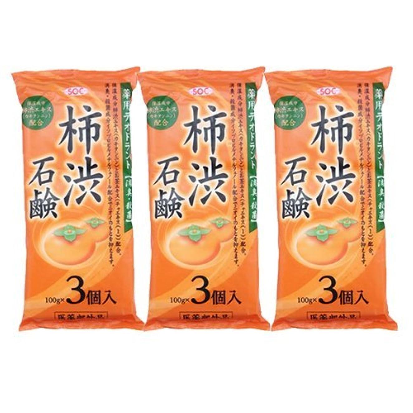 案件信号特殊渋谷油脂 SOC 薬用柿渋石鹸 3P ×3袋セット (100g×9個)