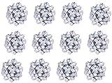 The Gift Wrap Company Decorative Confetti Bows, Large, Silver Metallic
