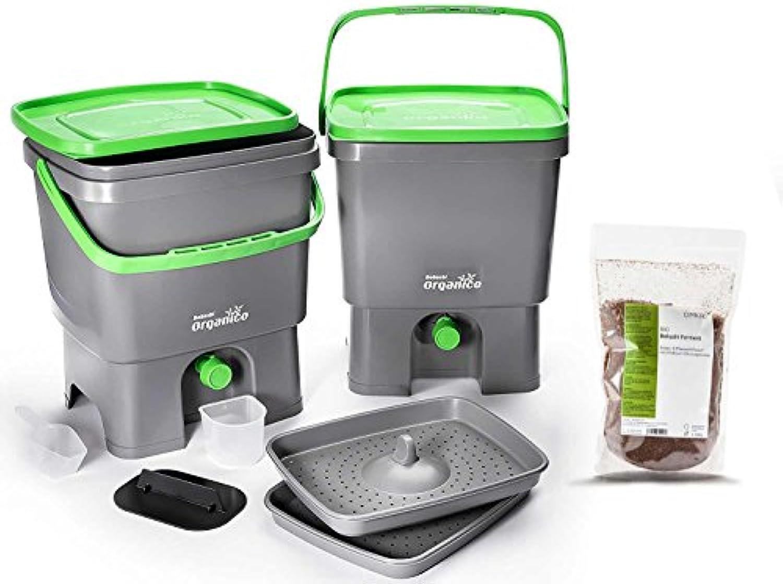Skaza - mind your eco Bokashi Organico Komposter für die Küche, Grau Limettengrün
